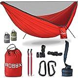ROBBX® Hängematte Outdoor mit Moskitonetz für 2 Personen   300kg Traglast   Doppelhängematte mit Befestigungs-Set   Nylon Camping Reisehängematte   290x140cm