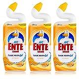 WC-Ente Total Aktiv Gel, Flüssiger WC-Reiniger, Toilettenreiniger, Citrus (erfrischender Zitronen-Duft), 3er Pack(3 x 750 ml)