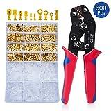 Crimpzange Flachsteckhülsen Set Mit 600 Stück Kabelstecker 0,5-2,5mm², HOMCA Crimpwerkzeuge Set Ferrule Crimper,Crimpzangen Aderendhülsen Set Für 2.8/4.8/6.3mm Crimpklemme