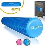 High Pulse Pilates Rolle – Die multifunktionale Schaumstoffrolle zur Muskelkräftigung, Fitness und Massage der Faszien, 90x15cm (Blau)