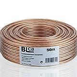 BLCA 50m 2x2,5mm² Lautsprecherkabel CCA I Boxenkabel isoliert transparent mit...
