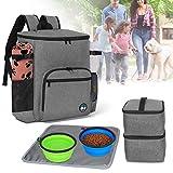 Teamoy Reisetasche für Aufbewahrung von Hunde Artikel, Haustierenrucksäcke für Mitnahme von Tiernahrung, Leckereien, Spielzeug und andere wichtige Dinge, ideal für Reisen oder Camping, Grau
