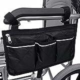 SINBLUE Tasche für Rollstuhl Armlehne Schwarz, Rollstuhltasche Seitlich für Elektrorollstuhl, Tasche für Rollstuhl Oxford Wasserdicht Klein (32.5 * 18 cm)
