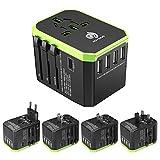 HUANUO Quick Charge Reiseadapter Weltweit für 224 Ländern mit 4 USB Ports + 1 Type C + 1 AC Steckdose