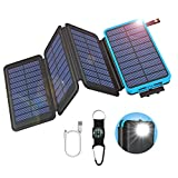 GOODaaa Solar Powerbank 25000mAh mit 4 Faltbar Solarpanels, Outdoor Solarladegerät USB 5V 2.1A...