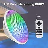 KWODE LED Poolbeleuchtung RGBW, 36W PAR56 Schwimmbadleuchten, 12V IP68 Wasserdicht Poolscheinwerfer Unterwasser Beleuchtung LED Lampe