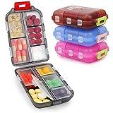 4 Pack Tablettenbox 7 Tage, Pillendose 10 Fächer Handlicher Medikamentenbox Leicht Zu für Reise & Tägliches Gebrauch Öffnen Pillendose 7 Tage by Muchengbao