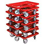 10 Stück Transportroller für Kisten 60 x 40 cm mit 4 Lenkrollen in rot