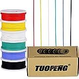 22 AWG Elektronik kabel set verzinnter Kupferdraht Kit 0,32mm² Flexibler Litzen Silikon Leitungen Draht(6 verschiedene farbige 26 Feet Spulen)