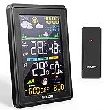 BALDR Wetterstation Funk mit Außensensor, Thermometer Hygrometer Digital Multifunktionale Funkwetterstation, Alarm/Snooze,Mondphase, Nachtlicht,für Zuhause Büro