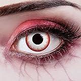 aricona Farblinsen Zombie Kontaktlinsen für Halloween - Farbige Kontaktlinsen ohne Stärke - Weiche Kontaktlinsen - deckend weiß