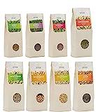 Cell Garden® 3,1kg Bio Sprossen Samen Set 8 Sorten - Alfalfa, Brokkoli, Radieschen, Mungbohnen, Buchweizen, Linsen, Kichererbsen, grüne Erbsen - mit Keimanleitung