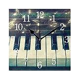 WowPrint Klavier Musik Noten Muster Wanduhr Arabisch Ziffer, Leise, Ohne Ticken, Quadratische Wanduhren, Wohnaccessoires, Wohnzimmer, Badezimmer, Schlafzimmer, Küche, Büro Deko