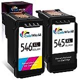 ColoWorld Remanufactured 545 XL 546 XL Druckerpatronen Schwarz Farbe Multipack für PG-545XL...