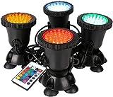 GreenSun Teichbeleuchtung Unterwasser, RGB Spot Licht IP68 Wasserdicht Gartenteich Lampe Fisch Teichlampe mit Fernbedienung