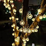 30er LED Solar Lichterkette Leuchte Außen Deko für Garten Party Hochzeit Gresonic [Energieklasse A+] (Warmweiß Kristalkugeln, 30 LED)