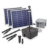 Solar Teichfilter Set Profi bis 5.000 l Teich - 4.000 l/h Förderleistung 150 Watt Solarmodul - neuester 12 V/24 Ah proBatt Akkuspeicher mit LED Licht - Gartenteich Filter Komplettset, esotec 101061