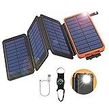 GOODaaa Solar Powerbank 25000mAh mit 4 Faltbar Solarpanels Tragbares Solar Ladegerät Outdoor...