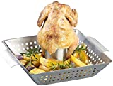 Rosenstein & Söhne Hähnchengriller: BBQ-Hähnchen-Griller mit Aroma-Behälter für ganze Hähnchen (Hähnchengriller mit Aromabehälter)