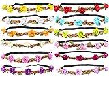 WTB 1PC Mädchen Blumen-Fee Bohemian Braid-Hochzeit Strand-Tiara-Kronen-Haar Stirnband, 12pcs mixed color, kann justieren