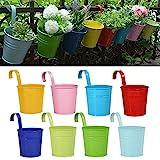 Blumentöpfe zum Aufhängen , RIOGOO Eisen Hängeblumentöpfe , Balkon Garten Töpfe Wand Pflanzer Metallwanne Blumenhalter (Abnehmbare Haken) - 8 PCS