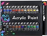 Zenacolor Acrylfarben Set - 24x12ml Tuben - Hochwertige, ungiftige Farben - Ideal für Kinder und Erwachsene - Leinwandfarben für Holz, Keramik, Stoff, Ton, Glas - Perfekt für alle Bastelprojekte!