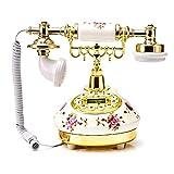 Kitabetty Retro-Stil Festnetztelefone für zu Hause, Rose Ceramic Innovative Desktop Schnurgebundenes Telefon für Home Office Decor