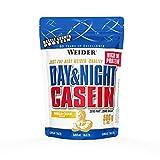 Weider Day & Night Casein Proteinpulver, Vanille-Sahne, Eiweiß für Muskelaufbau, Fitness Shake 500g