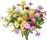 Künstliche Blumen Gänseblümchen Blumen - 4 Bündel Kunstblumen wie echt- kunstblumen für Außen Balkon Deko Heim Garten Küchendekoration Braut Hochzeit Party Dekor