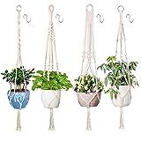 Xddias 4 Stück Makramee Blumenampel Baumwollseil Hängeampel, Blumentopf Pflanzen Halter Aufhänger Pflanzenhalter für Innen Außen Decken Balkone Wanddekoration (Beige)