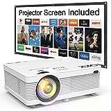 QKK Beamer 4500 Lumen unterstützt 1080P Full HD, Mini Projektor mit Screen, Native 720P HD Video...