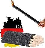 Fackeln aus natürlichem Wachs (12 Stück) | Wachsfackeln Made in Germany - Doppelte Brenndauer von 120 Min. | Fackeln mit Handschutz für Kinder & Erwachsene für Outdoor Draußen Garten Wanderung