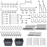 Abimars Werkzeuglochwand Haken,Lochwandhaken,123 Stück Lochwand Haken mit Kunststoffbox,für Zangen, Hammer,Organisationswerkzeuge