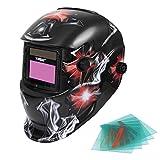Yorbay Solar Automatisch verdunkelnd Schweißhelm Schweißmaske mit 5 Stück Ersatzgläser, Schleif-Funktion (Fußball, Flamme)