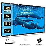 TOWOND Beamer Leinwand 150 Zoll Projektionswand, 16:9 HD 4K Beamerleinwand Faltbare und tragbare...