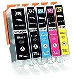 Supply Guy 5 Druckerpatronen mit Chip kompatibel mit Canon PGI-550 CLI-551 für Canon Pixma IP7250 IX6850 MG5450 MG5550 MG5650 MG5655 MG6450 MG6650 MX725 MX925