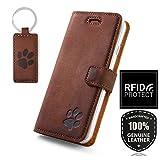 SURAZO Handy Hülle Für Samsung Galaxy A50 - Pfote - TV RFID Nubuk Nussbraun - Ölleder Premium - Vintage Wallet Case