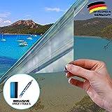 X-Solutions | UV-Schutz Sonnenschutzfolie Fenster innen | Spiegelfolie Selbstklebend | Selbsthaftend, Silber reflektierende Fensterfolie | Selbstklebende Sichtschutz, Sonnenschutz Folie | 45 x 200 cm