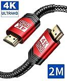 4K HDMI Kabel 2M, JSAUX HDMI 2.0 auf HDMI Kabel 4K@60Hz Highspeed 18Gbps Kompatibel für HD 1080P, Highspeed mit Ethernet, ARC, PS3/PS4, Xbox One/360, HDTV und Monitor Schwarz/Rot