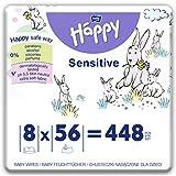 bella baby Happy Feuchttücher Sensitive mit Klickverschluss, 8er Pack (8 x 56 Stück) sanft und weich zur Babyhaut