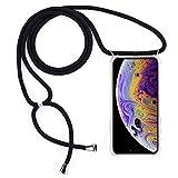 Shinyzone Handykette Kompatibel mit iPhone 11 Pro Max, Necklace Handyhülle mit Kordel zum Umhängen,Transparente TPU Silikon Hülle mit Band,Extra Stoßfest Schutzhülle,Schwarz