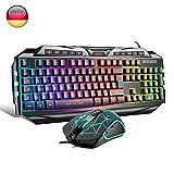 Anivia {DE Layout} Gaming Tastatur Maus Set GK710 Rainbow LED Hintergrundbeleuchtete Tastatur und...