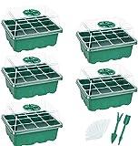 Wisolt Anzucht Gewächshaus, 5 Pack Zimmergewächshaus Anzuchtschalen Setzling Starter tabletts mit 12 Pflanzlöchern für Sämling Pflanze Aufzucht