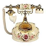 Ldlzjdh Festnetz Europäische Telefon Antike Schnurgebundene Telefon Classic Home Festnetz Wählscheibe Telefon Retro Festharz Telefon Dekoration Büro Handwerk Festnetz