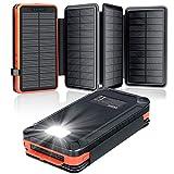 elzle Solar PowerBank 26800mAh, Solar Ladegerät mit 4 Sonnenkollektoren, Taschenlampe, Zwei 5V 2.1A...