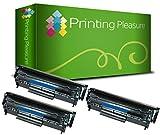 Printing Pleasure 3 Toner kompatibel zu Q2612A FX-10 703 für HP LaserJet 1010 1012 1015 1018 1020 1022 1022n 3010 3015 3020 3030 3050 3055 M1005 M1319f Canon LBP2900 LBP2900i - Schwarz, hohe Kapazität