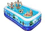 iBaseToy Aufblasbarer Pool für Kinder, 305x183x56CM aufblasbarer Blow Up Kiddie Pool für Kleinkinder Erwachsene, große Familien-Swimmingpools für den Garten Garten Gartenparty im Freien, ab 3 Jahren
