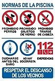 Schild aus robustem PVC – Normen des Pools – Warnschild – ideal zum Aufhängen und Hinweisen (Sprache: Spanisch)