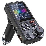 Nulaxy Bluetooth Adapter Auto, Starkes Mikrofon FM Transmitter Auto Bluetooth mit 1,8-Zoll-Farbbildschirm für Freisprechanrufe, unterstützt QC3.0-Lade-, Höhen- und Bassmusik-Player - KM30