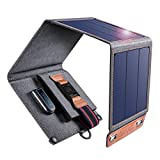 CHOETECH Solar Ladegerät, 14W Solarpanel Tragbares Leichtgewicht Outdoor Kompatibel mit Allen Handys, iPad, Kamera, Tablet, Bluetooth Lautsprecher usw